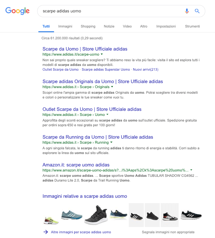 Screenshot serp adidas