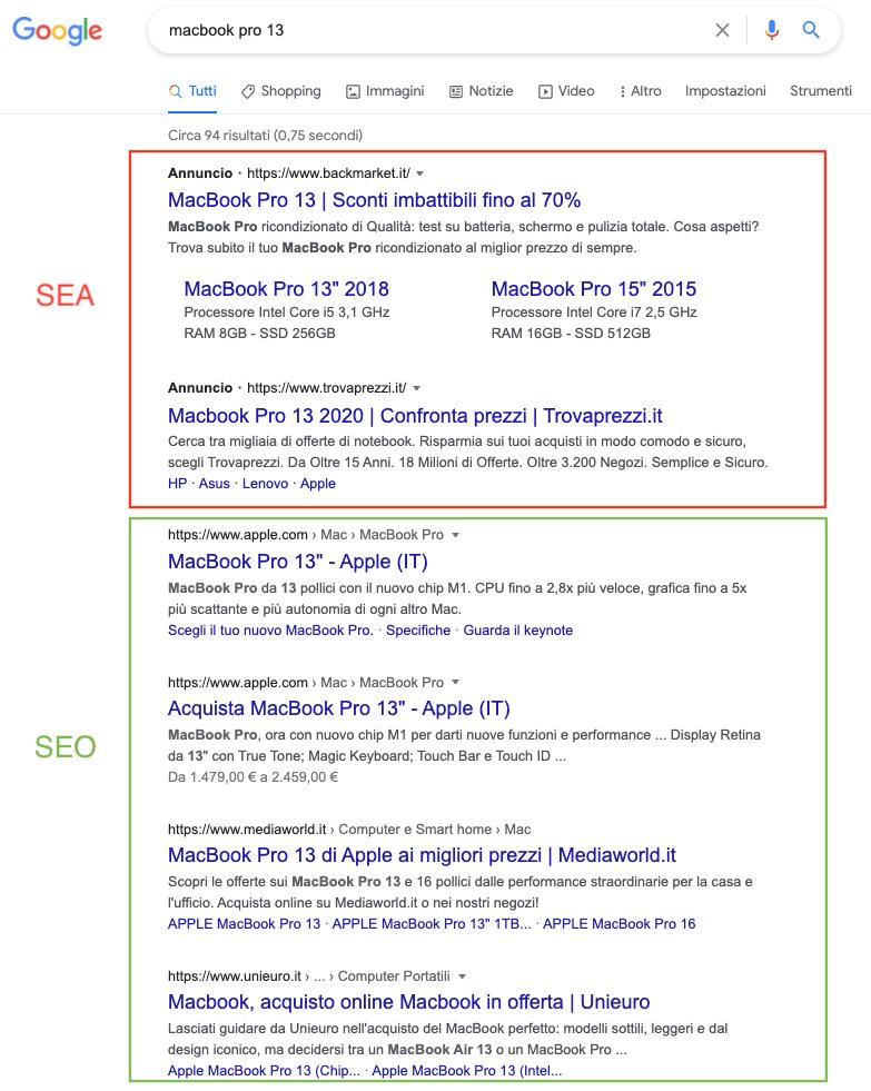 SEO e SEA: differenze tra risultati a pagamento e organici
